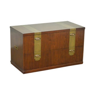 Henredon Mahogany Campaign Style 2 Drawer Low Chest