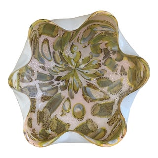 Murano Glass Sommerso Confetti Pale Pink Green and Tortoise With Silver Bowl For Sale