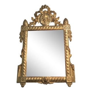 Early 19th Century Period French Gold Giltwood Beveled Mirror For Sale
