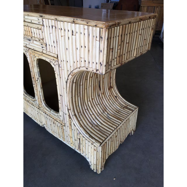 """Wicker Restored Stacked """"Anvil"""" Sofa Table Cabinet W/ Mahogany Top For Sale - Image 7 of 10"""