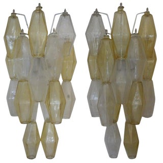 1960s Venini Style Murano Glass Polyhedral Sconces - a Pair For Sale