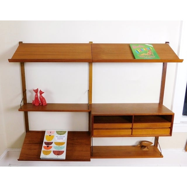 Mid-Century Modern Danish Modern Teak Floating Adjustable Desk Wall Unit Bookcase by Carlo Jensen for Hundevad & Co For Sale - Image 3 of 9