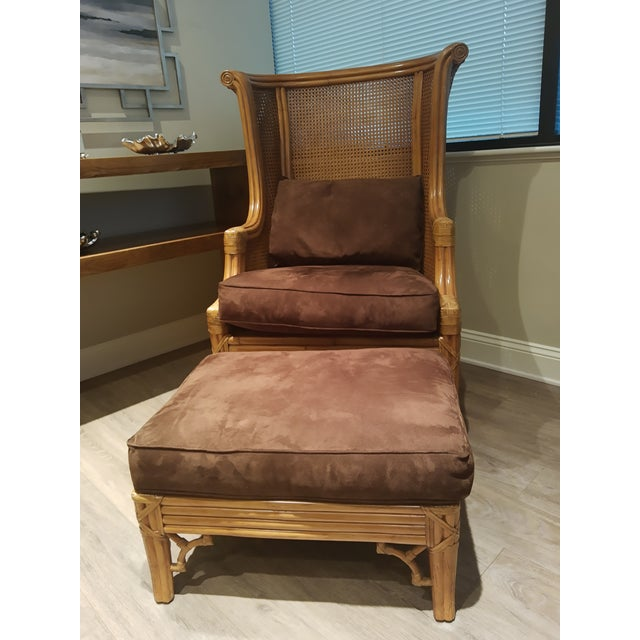 Textile Lane Venture Cane Back Wing Chair & Ottoman For Sale - Image 7 of 8