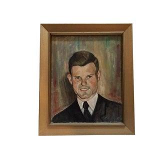"Mid-Century Modern ""Gentlemen in Suit"" Portrait Oil Painting For Sale"