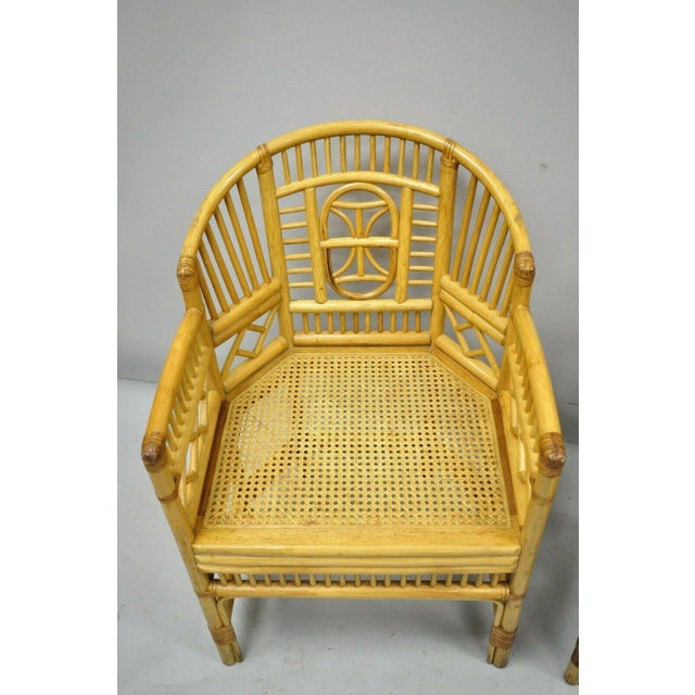 Mid 20th Century Vintage Brighton Pavilion Style Bamboo & Cane Rattan Arm Chairs - A Pair For Sale - Image 5 of 12