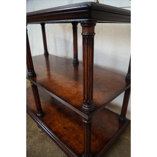 Maitland - Smith Quality Burl Wood 3 Tier Regency Style Server Cart For Sale - Image 4 of 10