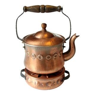 1960s Copper Tea Pot With Tea Warmer For Sale