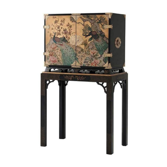 Metal Hand Painted Peacock Bar Cabinet For Sale - Image 7 of 7