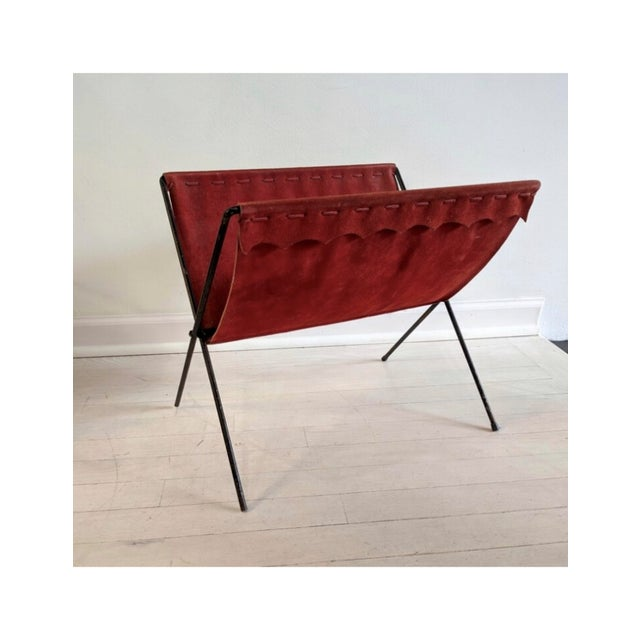 Red Suede + Iron Magazine Holder For Sale In Chicago - Image 6 of 6