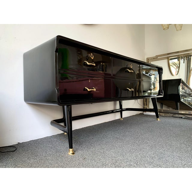 Black Lacquered Sideboard and Brass by Vittorio Dassi, Italy, 1950s For Sale - Image 6 of 13