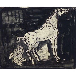 Kaupisch Von Reppert Irmgard, Ink Drawing - Startled in the Stall For Sale