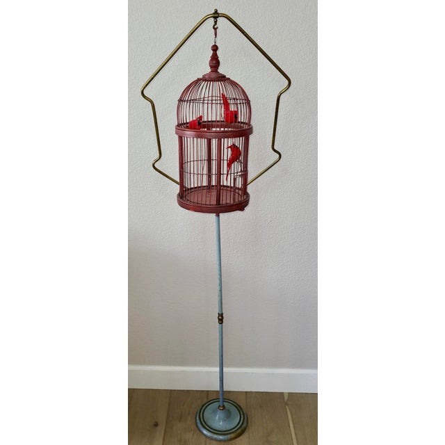 Antique Art Deco Brass Painted Blue Bird Cage Stand Holder With Red Wood & Metal Bird Cage For Sale - Image 12 of 12