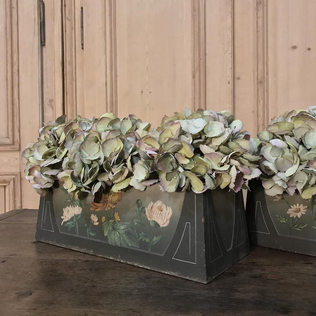 Pair French Art Deco Painted Jardinieres / Planter Boxes For Sale - Image 12 of 13