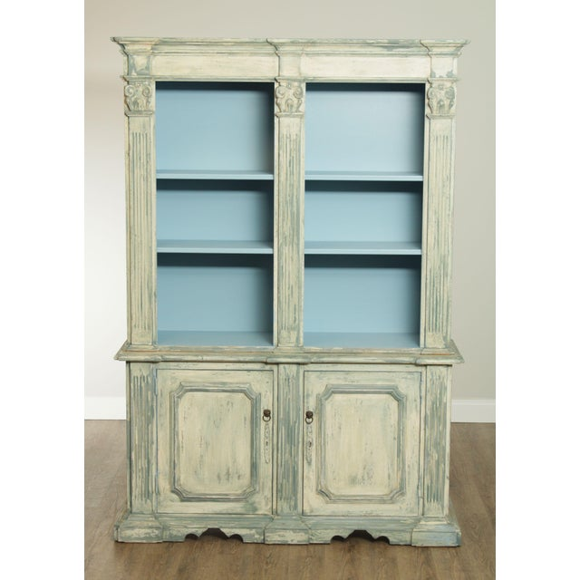 High Quality Custom Paint Decorated 2 Piece Bookcase With Adjustable Shelves Store Item#: 26939