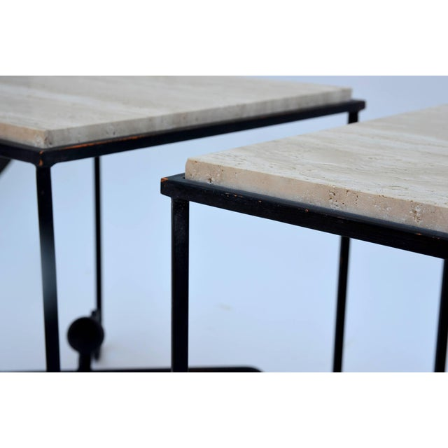 "Modern Contemporary Design Frères Wrought Iron and Travertine ""Entretoise"" Side Tables - a Pair For Sale - Image 3 of 10"