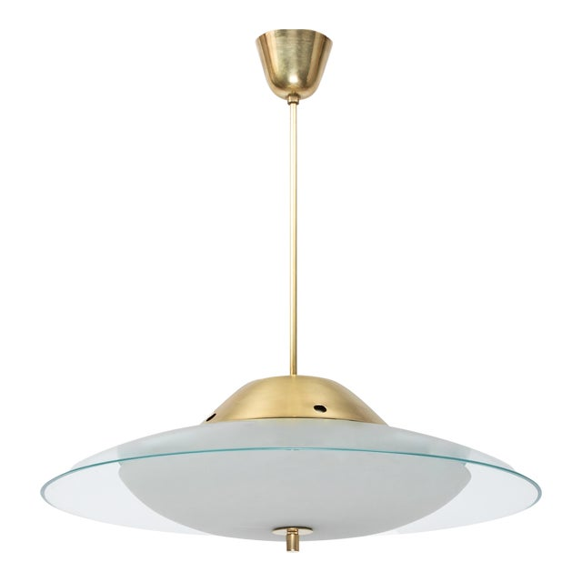 1950s Vintage Max Ingrand for Fontana Arte Crystal and Brass Chandelier For Sale