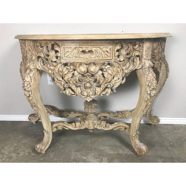 Tan French Rococo Style Console With Centre Drawer For Sale - Image 8 of 10