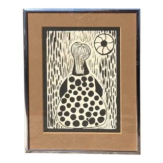 Vintage Mid-Century Original Cubist Style Print For Sale