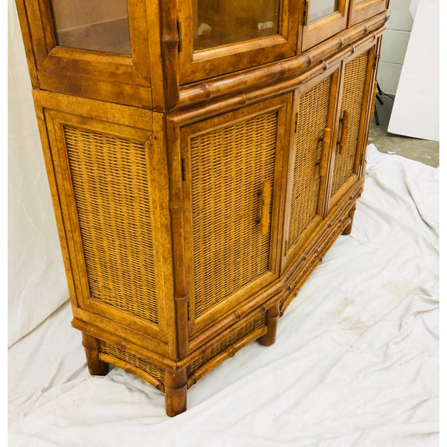 Bamboo Vtg Faux Bamboo & Wicker Hutch For Sale - Image 7 of 13