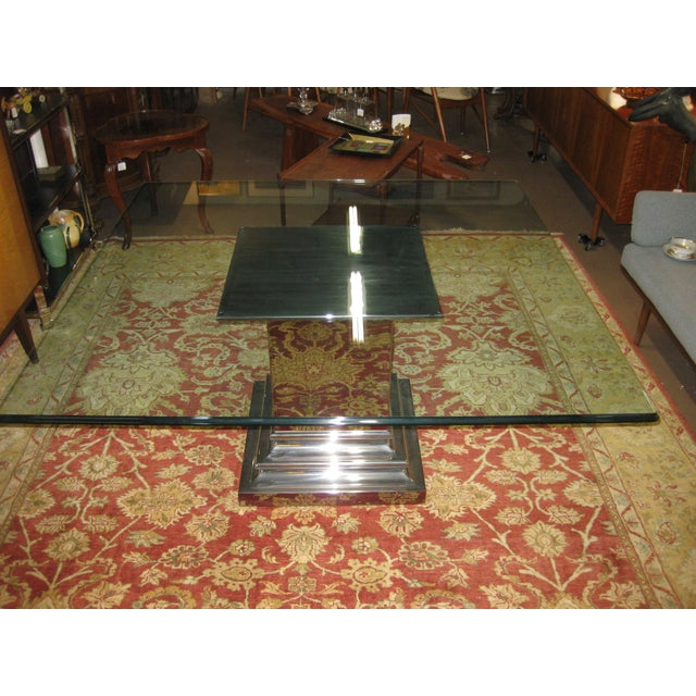 1980s Brueton Stainless Steel Column Dining Table For Sale - Image 5 of 5