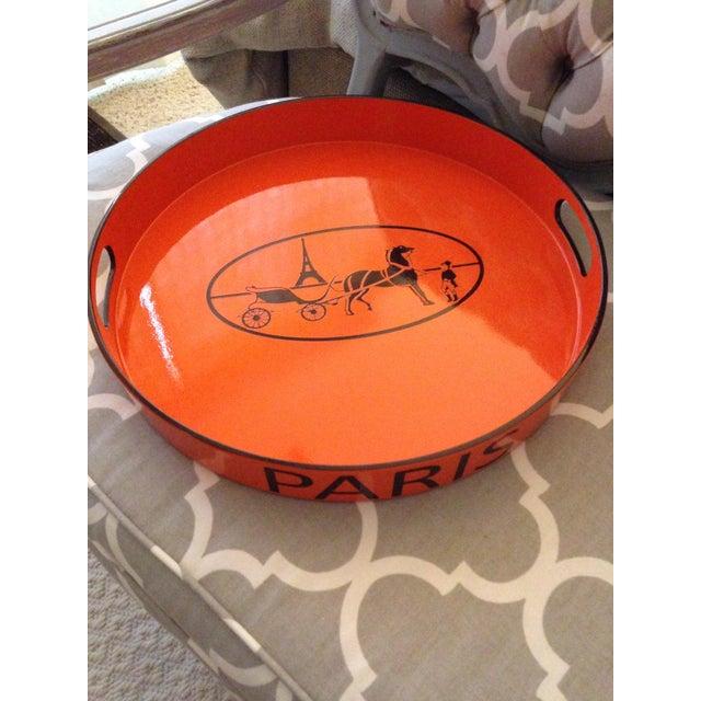 Orange Orange Lacquered Hermes Inspired Bar Tray For Sale - Image 8 of 11