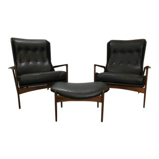 Matched Pair of Kofod Larsen Leather Wingback Chairs and Ottoman For Sale
