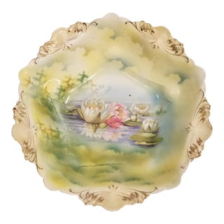 RS Prussia Clouds and Green Landscape Around Lily Pond Motif Water Lily Bowl For Sale