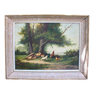 Vintage Framed French Landscape with Chickens Oil on Canvas Painting For Sale