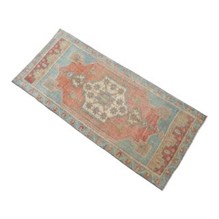 Hand Knotted Door Mat, Entryway Rug, Bath Mat, Kitchen Decor, Small Rug, Turkish Rug - 1′8″ × 3′7″ For Sale