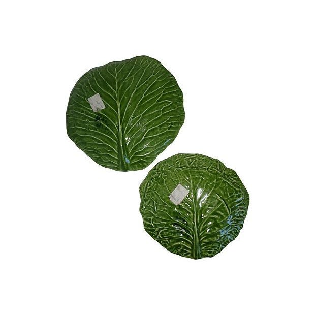 Country Barbara Eigen Cabbage Leaf Dishes - A Pair For Sale - Image 3 of 6