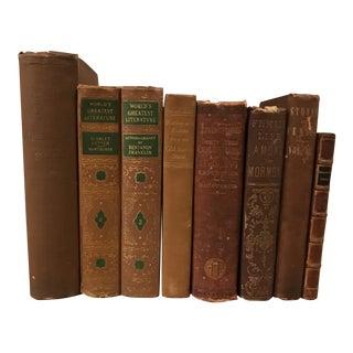 Decorative Antique Brown Books - Set of 8 For Sale
