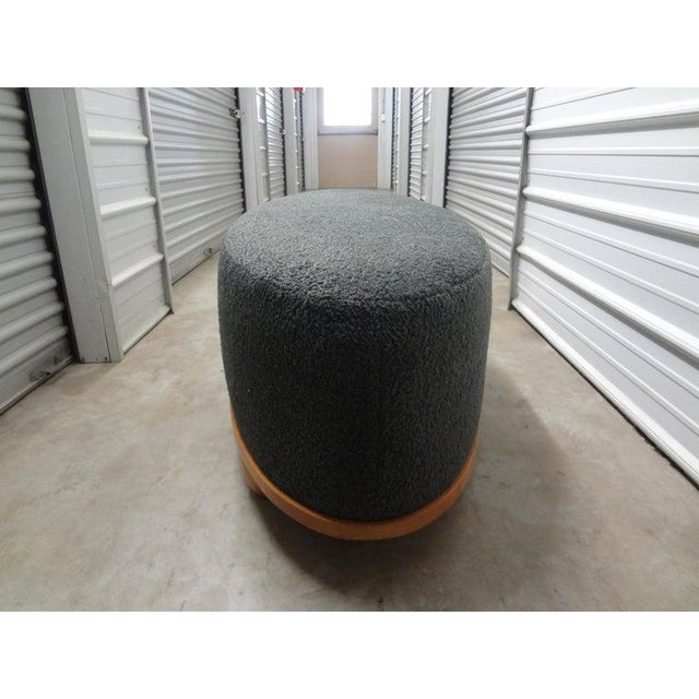 Large Mid-Century Oval Bench Upholstered in Gray Shearling For Sale In Houston - Image 6 of 13