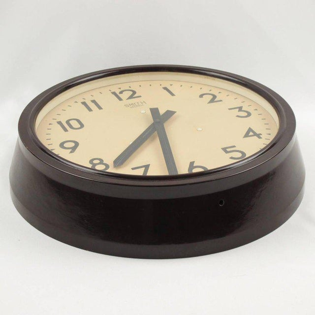 Art Deco Smith Huge Industrial Factory English Art Deco Bakelite Wall Clock For Sale - Image 3 of 10