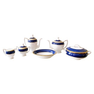 Athlone Blue and Gold Coalport China Tea Service - Set of 10 For Sale