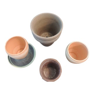 Set of 7 Garden Decor Clay Assorted Planters With Glass Saucers For Sale