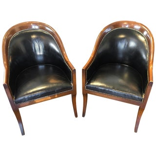 Pair of Black Leather & Mahogany Club/ Barrel, Side Chairs by Schmieg & Kotzian For Sale