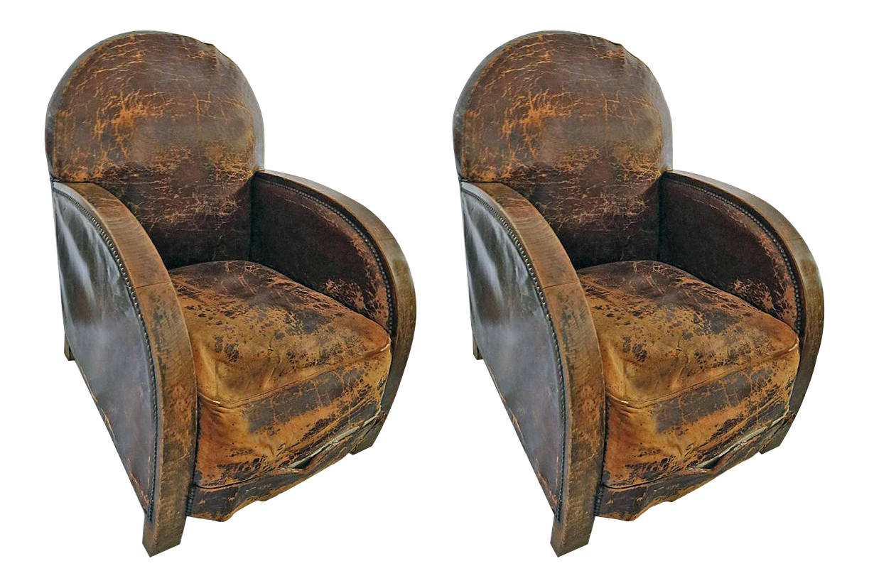 Superior Distressed Leather Armchairs   A Pair