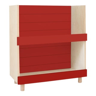 "Minimo Modern Kids 31"" Bookcase in Birch With Red Finish For Sale"