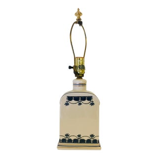 Delft Apothecary Jar Rectangular Table Lamp For Sale