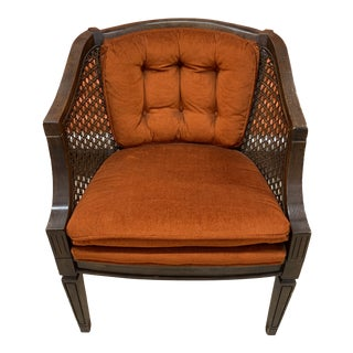 Vintage Original Burnt Orange Upholstery Wood and Cane Retro Accent Chair For Sale