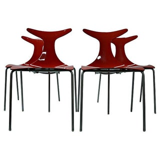 Sculptural Italian Red Dining Chairs - Set of 4 For Sale