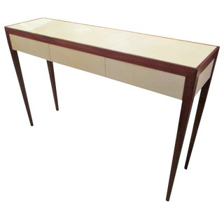 Parchment and Mahogany Console With Three Drawers For Sale