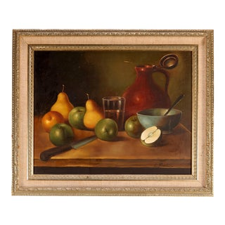 Antique Painting Fruit Still Life Oil on Canvas Artist Signed Circa 1920 For Sale