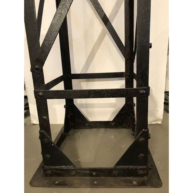 Industrial Iron Urn and Stand Circa 1900 - 2 Pieces For Sale - Image 3 of 11