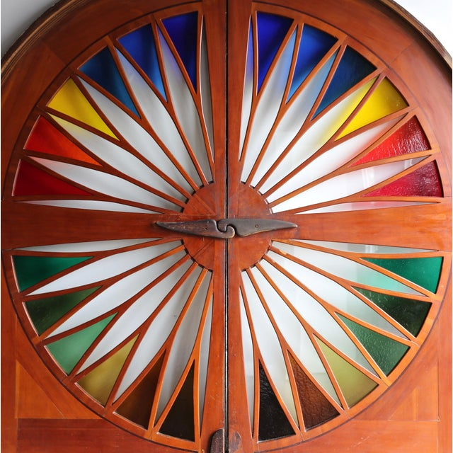 """Monumental stained glass sliding doors, circa 1970. Overall measurements: 108.13"""" wide x 102.25"""" tall x 6"""" deep Each door..."""