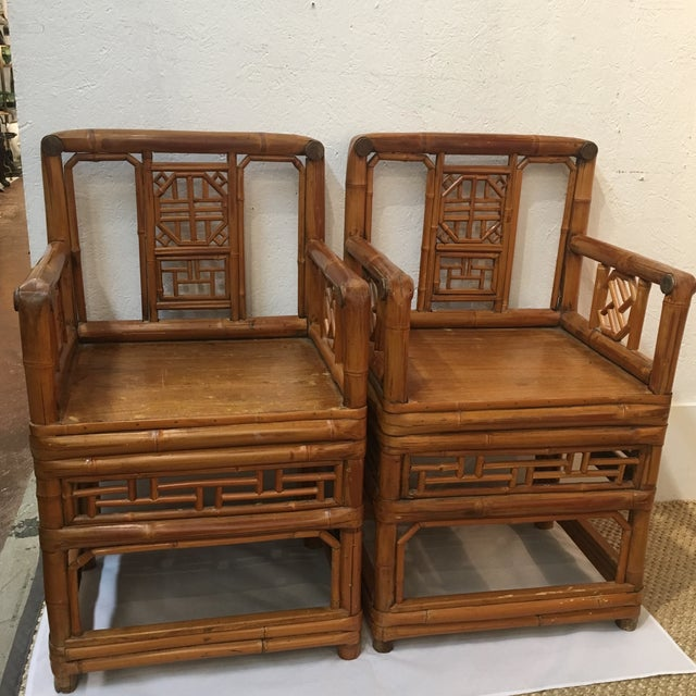 Bamboo Chinese Chippendale Arm Chairs - a Pair For Sale In Atlanta - Image 6 of 6