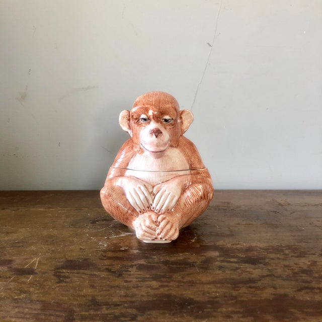 Brown Vintage Vietri Italian Pottery Monkey Covered Dish For Sale - Image 8 of 8