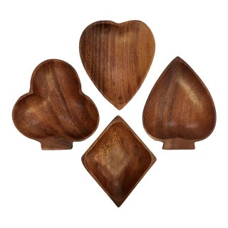 Card Themed Monkey Pod Wood Mini Snack Dishes - Set of 4 For Sale