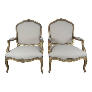 19th Century French Giltwood Fauteuils- a Pair For Sale