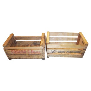 Spanish Wooden Crates - a Pair
